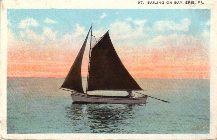 Sailing on Bay Erie Pennsylvania PA Vintage Postcard - 4813