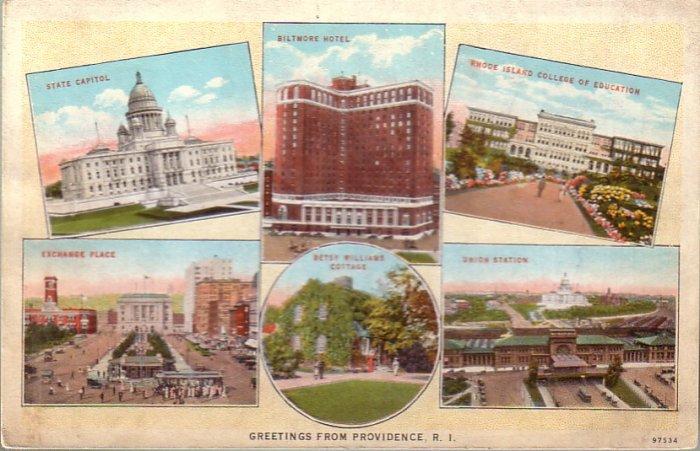 Greetings from Providence Rhode Island RI Curt Teich Vintage Postcard - 4816