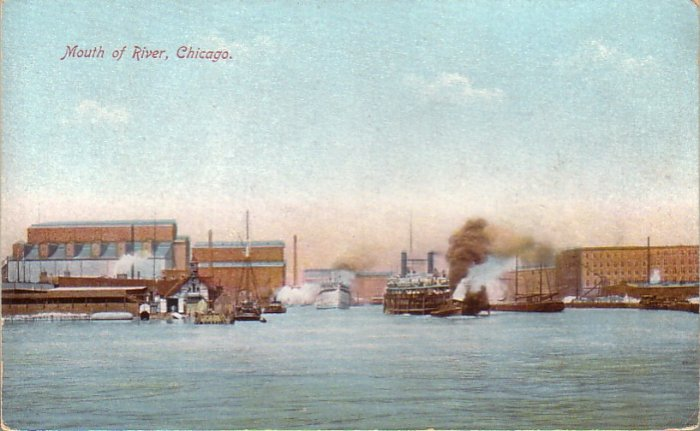 Mouth of Chicago River Illinois IL Vintage Postcard - 4818