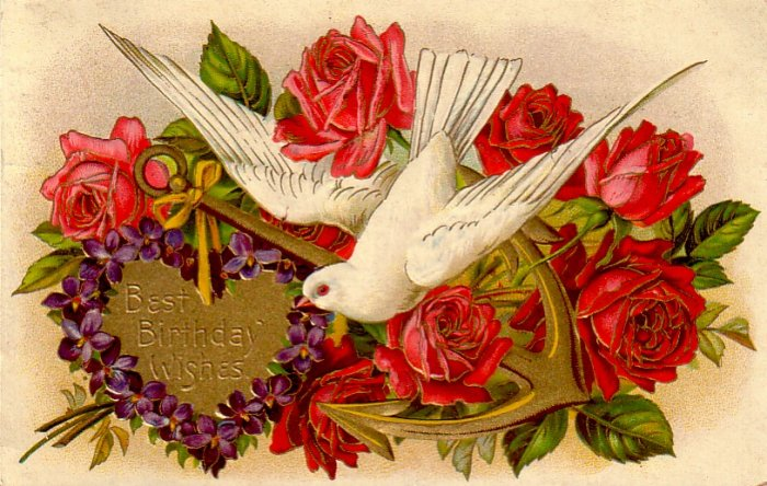 Best Birthday Wishes Dove with Anchor 1910 Vintage Postcard - 4833