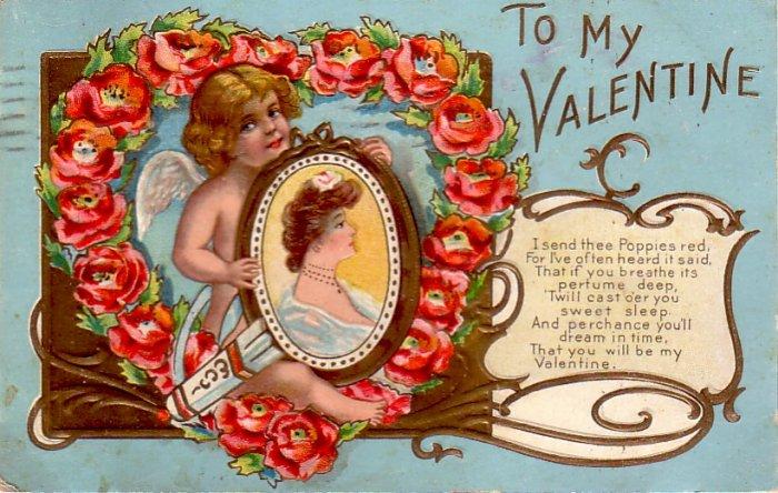Red Poppies on Vintage Postcard 1909 Valentine - 4838