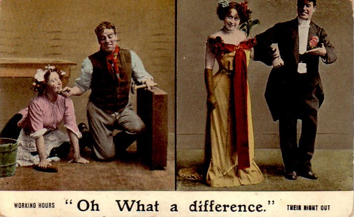 Oh What a Difference, Comic 1909 Vintage Postcard - 4839
