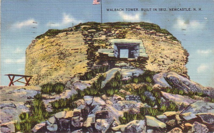 Walbach Tower at New Castle New Hampshire NH 1942 Linen Postcard - 4873