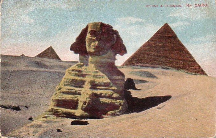 Sphinx and Pyramids near Cairo Egypt Vintage Postcard - 4879