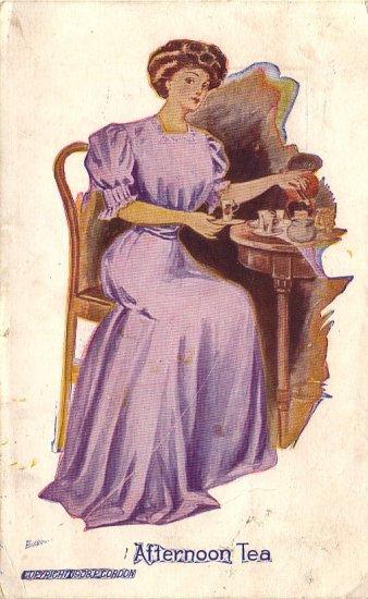 Afternoon Tea 1908 Glamour Vintage Postcard - 4893