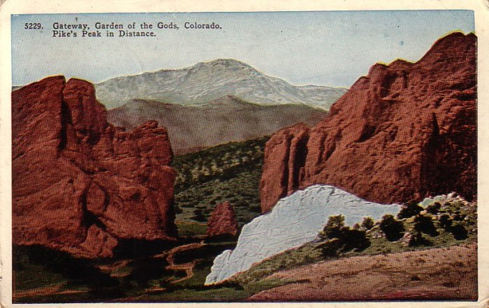 Gateway to Garden of the Gods in Colorado CO 1923 Vintage Postcard - 4919