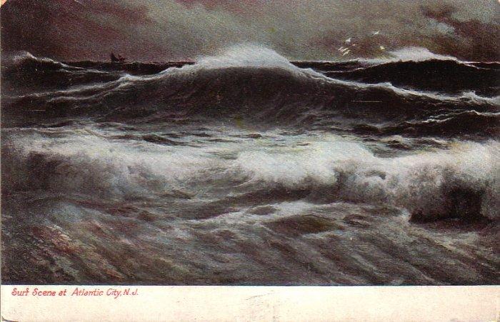 Surf Scene at Atlantic City New Jersey NJ Vintage Postcard - 4920