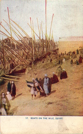 Boats on the Nile in Egypt 1909 Vintage Postcard - 4931