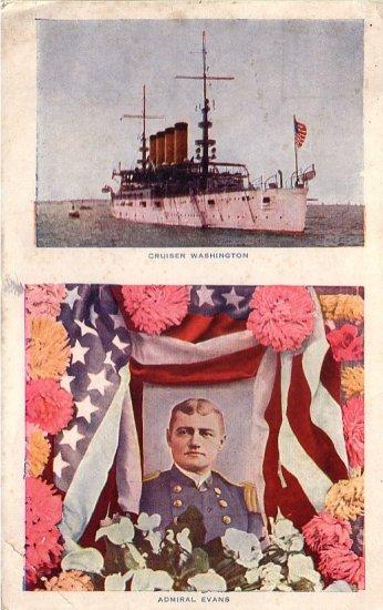 Admiral Evans and the Cruiser Washington  1912 Vintage Postcard - 4936