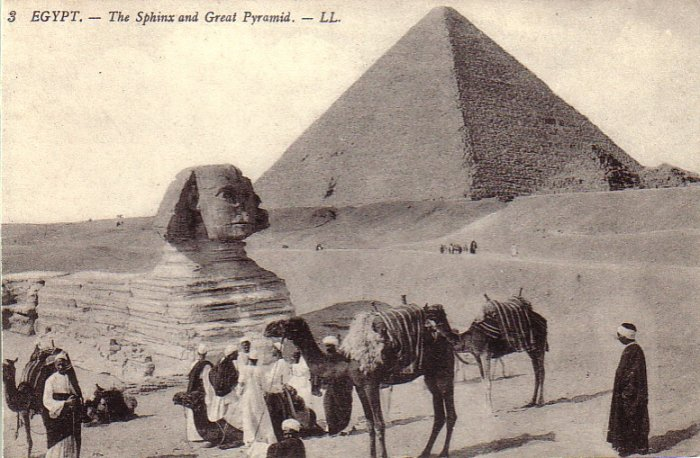 The Sphinx and Great Pyramid in Egypt Vintage Postcard - 4939
