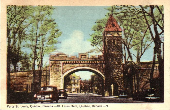 St. Louis Gate in Quebec Canada Mid Century Postcard - 4955