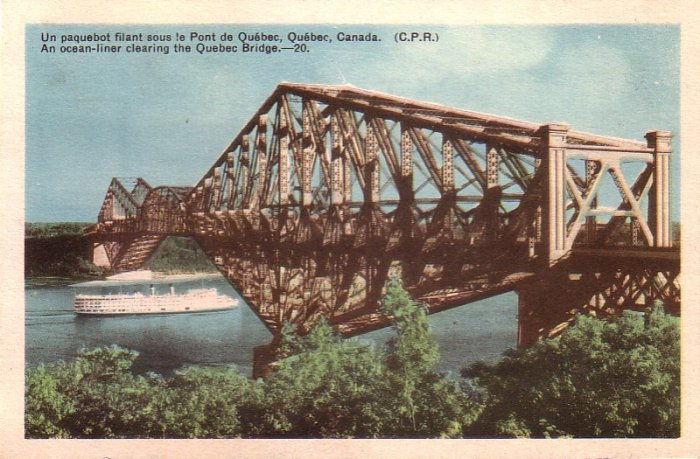 An Ocean Liner Clearing the Quebec Bridge in Canada Mid Century Postcard - 4956