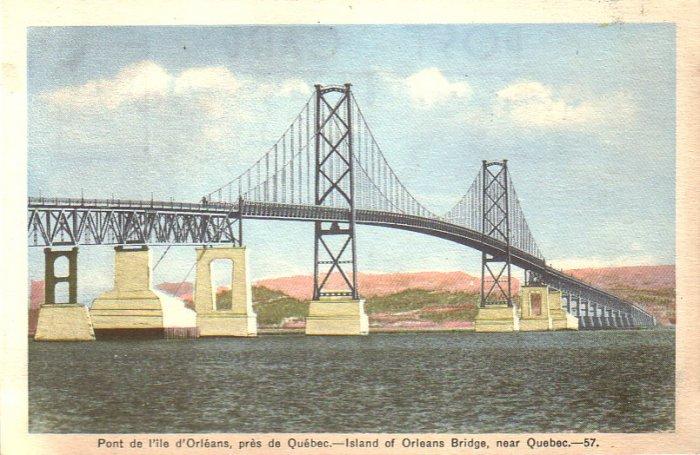 Island of Orleans Bridge near Quebec Canada Mid Century Postcard - 4957