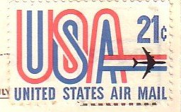 Cupid on Top of World with Air Mail USA Postage Stamp, Postcard - 4975