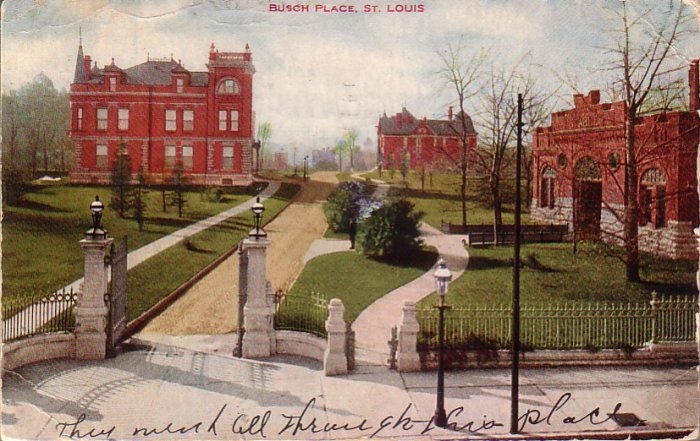 Busch Place in St. Louis Missouri MO 1908 Postcard - 4991