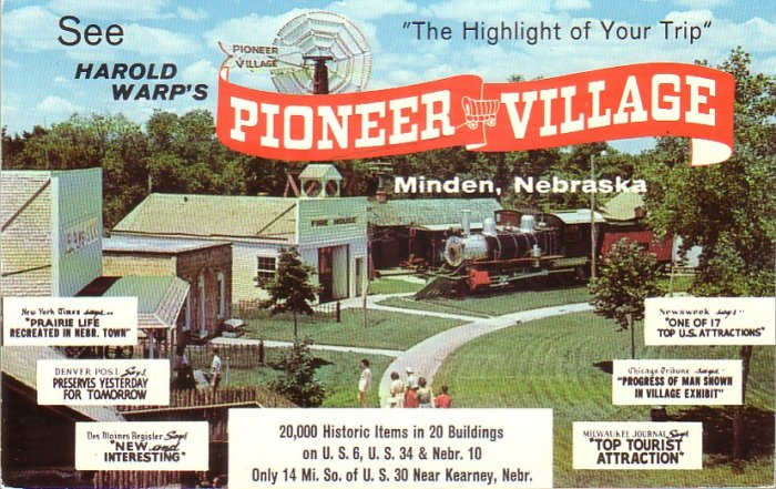 Harold Warp's Pioneer Village in Minden Nebraska NE Chrome Postcard - 5005