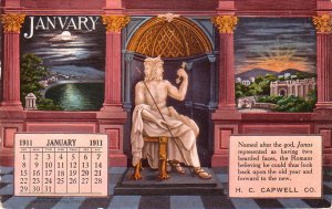 January 1911 Edward H. Mitchell Advertising Calendar Vintage Postcard - 5007