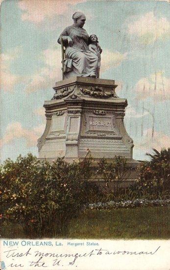 Margaret Statue in New Orleans Louisiana LA 1908 Vintage Postcard - 5032