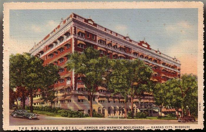 The Bellerive Hotel in Kansas City Missouri MO 1931 Curt Teich Postcard - 5052