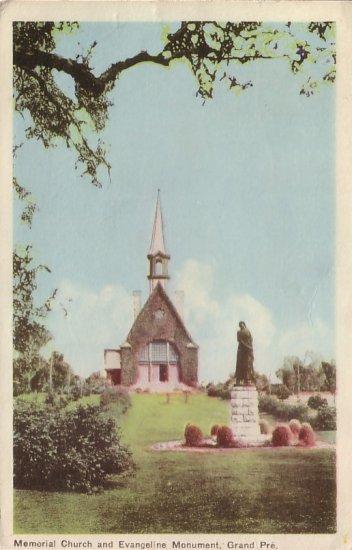 Memorial Church and Evangeline Monument at Grand-Pré, Nova Scotia Canada Postcard - 5067