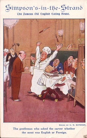 Simpson's in the Strand London England Restaurant Advertising Postcard - 5105