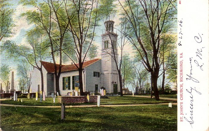 St. John's Church and Graveyard in Richmond Virginia VA 1906 Vintage Postcard - 5123