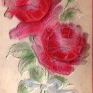 Birthday Greetings with Bas Relief Flocked Roses Vintage Postcard - 5149