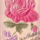 Birthday Greetings with Applique Silk Rose Vintage Postcard - 5150