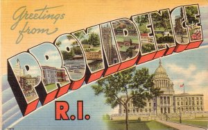 Large Letter Greetings from Providence Rhode Island RI Postcard - 5159