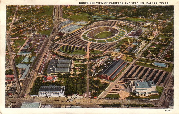 View of Fairpark and Stadium in Dallas Texas TX 1931 Vintage Postcard - 5161