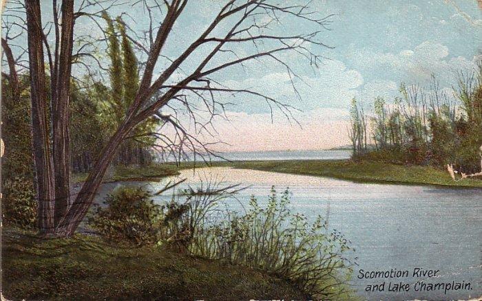 Scomotion River and Lake Champlain New York NY 1915 Vintage Postcard - 5165