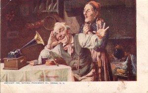 Listening to the Phonograph Machine 1905 Vintage Postcard - 5180