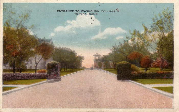Entrance to Washburn College in Topeka Kansas KS Vintage Postcard - 5205