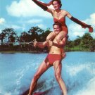 Tandem Water Ski Champions at Cypress Gardens Florida FL 1954 Curt Teich Chrome Postcard - 5231