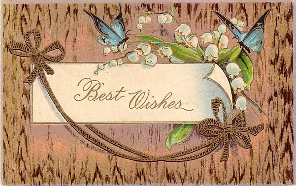 Blue Butterflies with Lily of the Valley Flowers Vintage Greeting Postcard - 3945