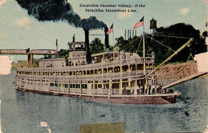 Excursion Steamer Sidney of the Streckfus Steamboat Line, Vintage Postcard - 3985