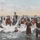 As Good as a Circus! Large Group in Swimwear Having Fun in Water, 1907 Vintage Postcard - 5297