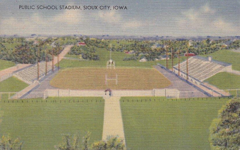 Public School Stadium in Sioux City Iowa IA, Mid Century Linen Postcard - 5309