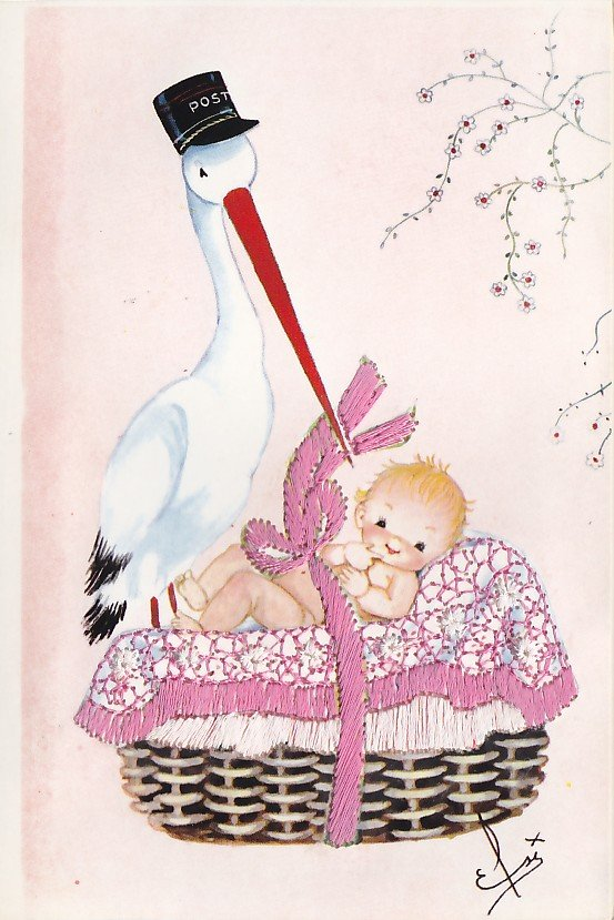 Baby In Basket With Stork Elsi Gumier Embroidered