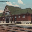 Big Four Railroad Station in Kankakee Illinois IL, 1913 Vintage postcard - 5338