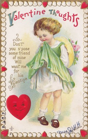 Vintage 1912 Embossed Valentine Postcard of Shy Girl - 5339
