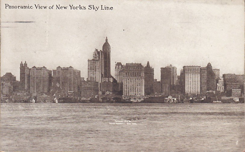 Panoramic View of New York Sky Line, 1915 Vintage Postcard