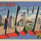 Large Letter Greetings from St. Louis Missouri MO, 1935 Linen Postcard - 5367