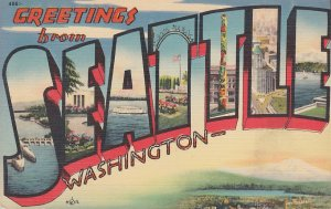 Greetings from Seattle Washington WA, Large Letter Linen Postcard - 5371