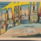 Greetings from Tacoma Washington WA, Large Letter Linen Postcard - 5372