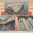 Historical Rocks at Kelly's Island Ohio OH, 1938 Curt Teich Linen Postcard - 5376