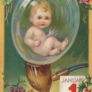 Baby in Pipe Bubble, 1911 Raphael Tuck Vintage New Year Postcard - 5385