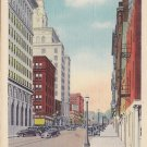 Main Street Looking North in Davenport Iowa IA, 1935 Linen Postcard - 5400