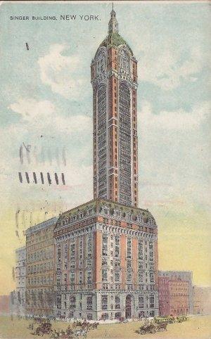 Singer Building New York City NY, 1910 Vintage Postcard - 5389