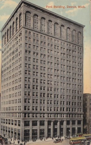 Ford Building in Detroit Michigan MI, Vintage Postcard - 5390
